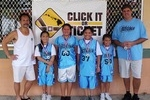 Girls 10 & Under Division, 1st Place—Fly Girls #1: Richard Wong (coach), Meghan Wong, Levonne Arquero, Angel Ai-Perreira, Hunter Muranaka, Jay Costa (coach), (not pictured: Kyli Kaleo)
