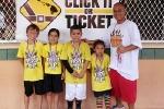 Age 7-8 Division, 2nd Place—Kohala Gold: Javin Perez, Leiana Carvalho, Elijah Antonio, Rebekah Fong, Paul Antonio (coach)