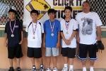 Age 9-12 Division, 1st Place—No Care: Shaun Kojima, Treysen Ishimoto, Jax Uyemura, Isaiah Nakoa-Oness, Guy Nakamoto (coach)