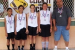 Girls 12 & Under Division, 2nd Place—N.S.P. #2: Brittny Badua, Jessica Tenorio, Tezrah Antonio, Naai Solomon-Lewis, Keone Emeliano (coach)