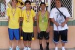 Age 13-14 Division, 1st Place—No Care: A.J. Matsumoto, Tyler Honda, Dylan Ita, Guy Nakamoto (coach), (not pictured: Tolby Saito, Mackenzie Miyasaka)