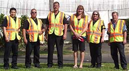Image: six persons in reflective vests