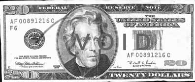 Front of counterfeit bill