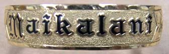 "gold bracelet with the name ""Maikalani"""