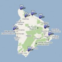 Image link of map of Hawaii Island with P symbols indicating the eight district police stations that are indicated below with link to Google map of same