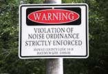Sign: WARNING VIOLATION OF NOISE ORDINANCE STRICTLY ENFORCED